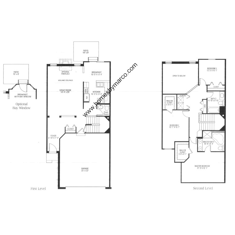 Amhurst model in the townhomes of princeton subdivision in for Large townhouse floor plans