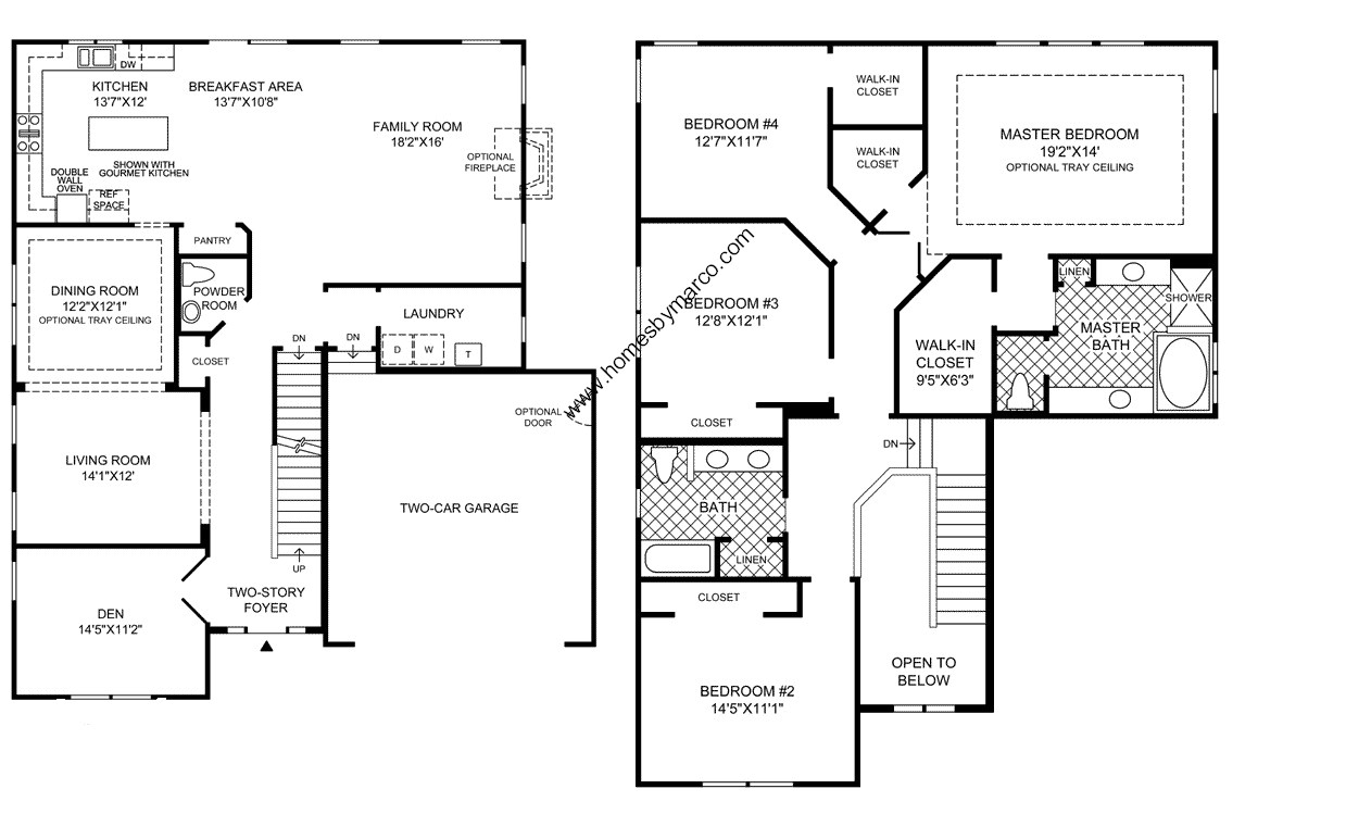 Berkshire model in the bowes creek country club for 2 story 4 bedroom 3 bath house plans