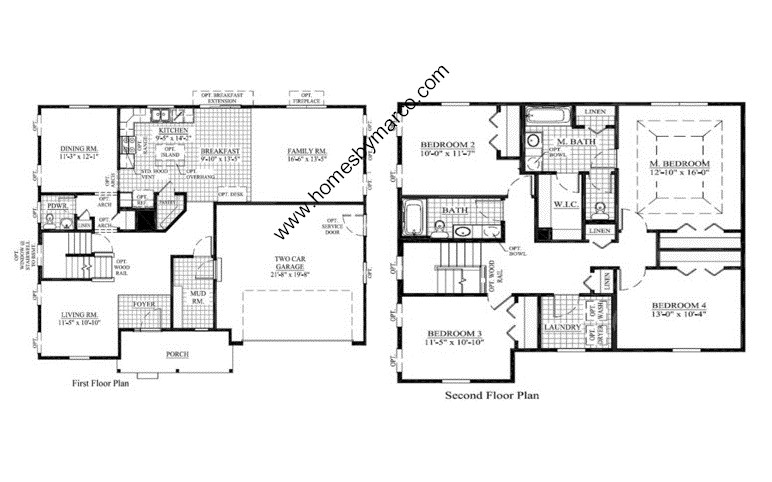 Homes By Marco Floor Plans: Safford Model In The Sandy Creek Subdivision In Elgin