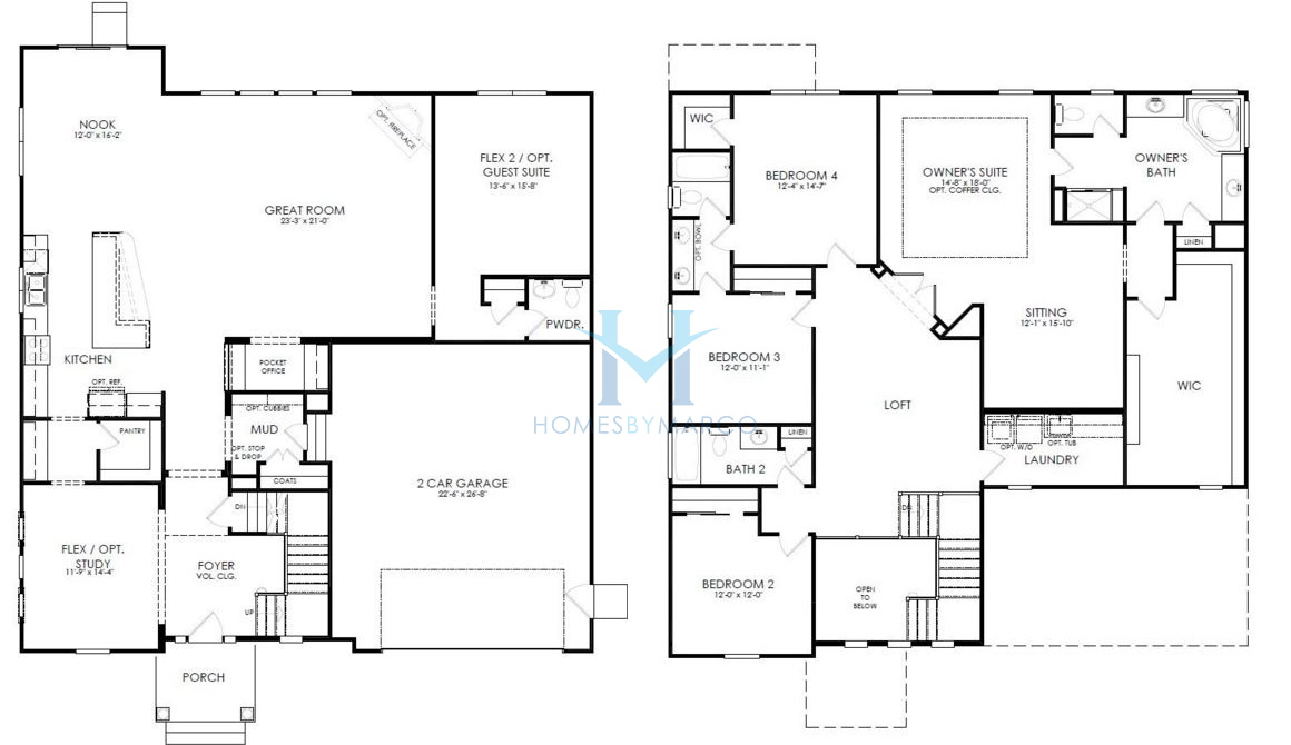 Homes By Marco Floor Plans: Stockton Model In The Creeks Crossing Subdivision In