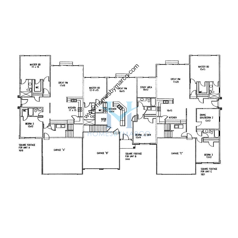 Triplex floor plans thefloors co for Triplex home plans
