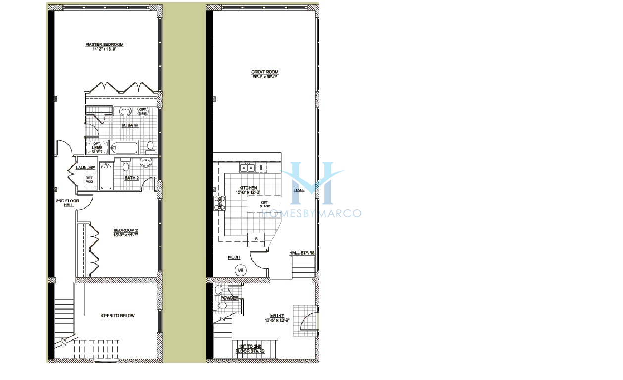 Two story unit u model in the emerson lofts subdivision in Two story house plans with loft
