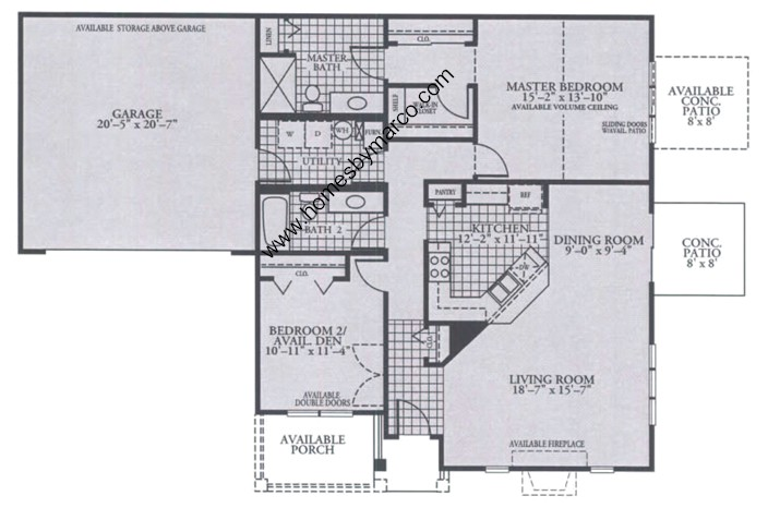 Homes By Marco Floor Plans: Whitney Model In The Carillon At Heatherstone Subdivision