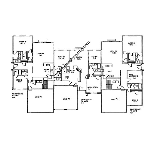 Triplex floor plan model in the riverbend subdivision in for Triplex floor plans with garage